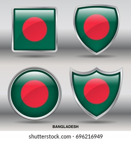 Flag of Bangladesh in 4 shapes collection with clipping path