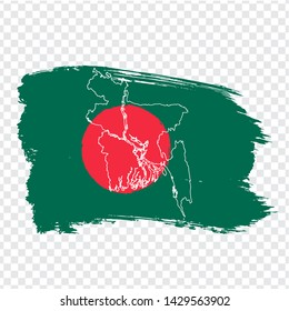 Flag of Bangladesh  from brush strokes and Blank map Bangladesh. High quality map Bangladesh and flag on transparent background. Stock vector. Vector illustration EPS10.