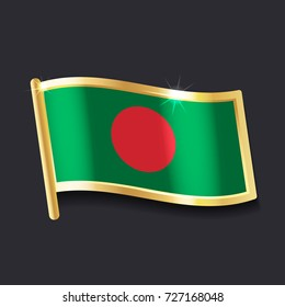 flag of Bangladesh in the form of badge, flat image