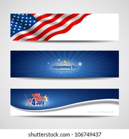 Flag banners collection independence day template backgrounds, vector illustration
