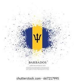 Flag of Barbados, brush stroke background