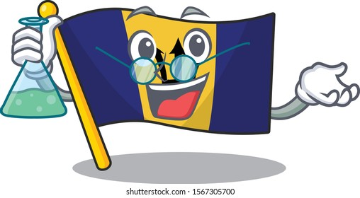 Flag barbados as a funny Professor cartoon character holding glass tube