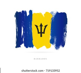 Flag of Barbados. Vector illustration on white background. Beautiful brush strokes. Abstract concept. Elements for design.