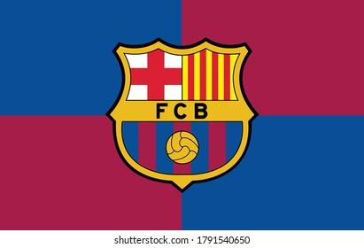 Flag of Barcelona Official Color Background