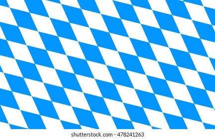 Flag of Bavaria. Oktoberfest checkered background with blue and white rhombus. Bavarian flag pattern