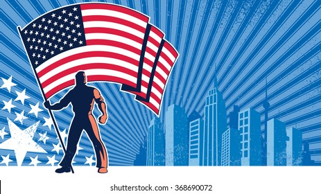 Flag Bearer USA Background: Flag bearer holding the flag of USA over grunge background with copy space.