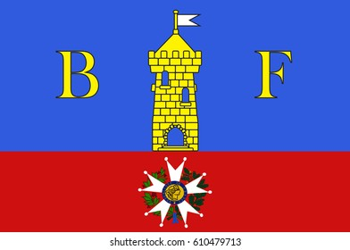 Flag of Belfort is a city in northeastern France in the Bourgogne-Franche-Comte region. Vector illustration