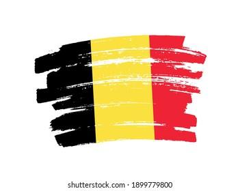 Flag of Belgium in brush stroke background.