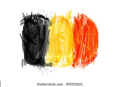 Flag of Belgium made with colorful splashes