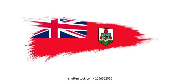 Flag of Bermuda in grunge brush stroke, vector grunge illustration.