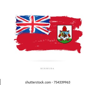 Flag of Bermuda skeletons. Vector illustration on white background. Beautiful brush strokes. Abstract concept. Elements for design.