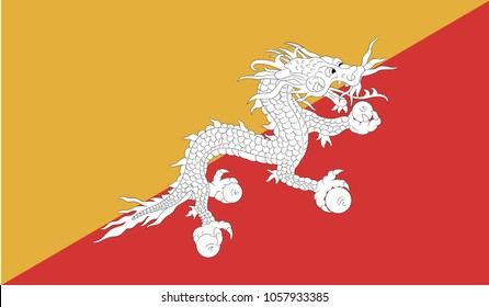 Flag of Bhutan. Accurate dimensions, element proportions and colors.