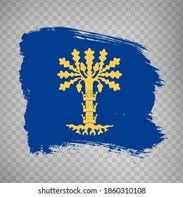 Flag Blekinge County  brush strokes. Flag of Blekinge County on transparent background for your web site design, app, UI. Sweden. EPS10.