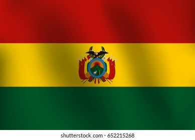 Flag of Bolivia with a little Waving, Shading & Flag Colors separated layers - Vector Illustration