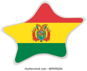 Flag of Bolivia, officially known as the Plurinational State of Bolivia. Vector illustration of a stylized flag. Star with shadow. Element for infographics.