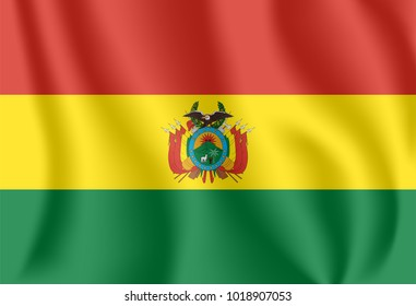 Flag of Bolivia. Realistic waving flag of Plurinational State of Bolivia. Fabric textured flowing flag of Bolivia.