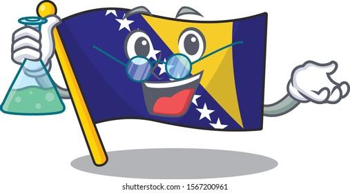 Flag bosnia as a funny Professor cartoon character holding glass tube