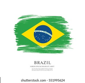 Flag of Brazil, brush stroke background