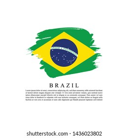 Flag of Brazil with brush stroke effect and information text poster, Brazil Flag template design. Vector Eps 10