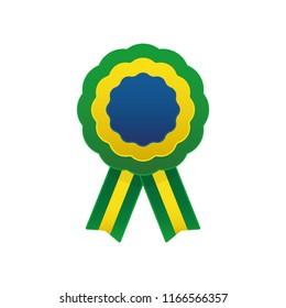 Flag of brazil cockade, rosette with ribbon, vector illustration.