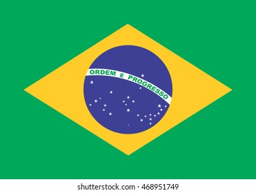 Flag of Brazil in correct size, proportions and colors. Accurate dimensions. Brazilian national flag.