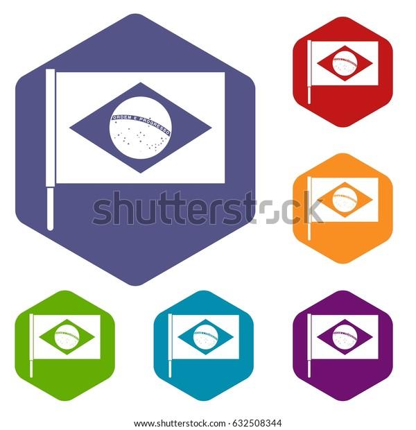 Flag of Brazil icons set hexagon isolated vector illustration