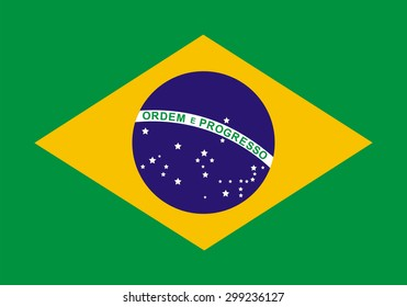 Flag of Brazil. Official state symbol of the Federative Republic of Brazil. Government specification: correct colors, shapes and sizes. Green background. Yellow diamond and blue circle with stars.