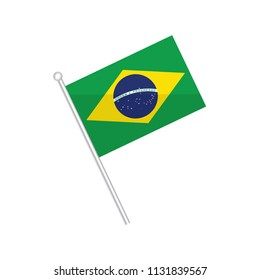 Flag of Brazil. Flag of South America. isolated on a white background.