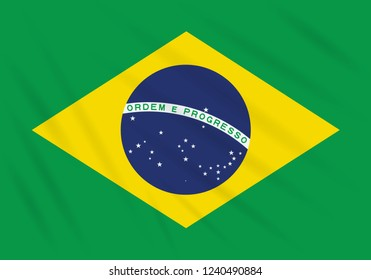 Flag Brazil swaying in wind, realistic vector.
