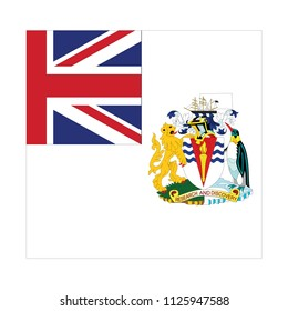 Flag of British Antarctic Territory (UK),British Antarctic Territory (UK) flag Vector Square Icon - Illustration, Flag of British Antarctic Territory (UK). Abstract concept, icon, square, button.