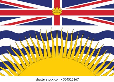 Flag of British Columbia Province or territory of Canada. Vector illustration.