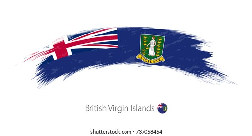 Flag of British Virgin Islands in rounded grunge brush stroke. Vector illustration.