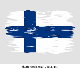 Flag Brush Finland painted brush colored inks. Symbol Independence Day National Patriotic Travel Country Background Grunge Paint Stock Vector Icon Logo Picture Image Illustration Political