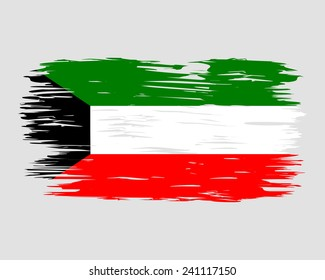 Flag Brush Kuwait painted brush colored inks. Symbol Independence Day National Patriotic Travel Country Background Grunge Paint Stock Vector Icon Logo Picture Image Illustration Political