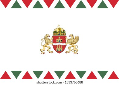 Flag of Budapest is the capital and the most populous city of Hungary, and the tenth-largest city in the European Union. Vector illustration
