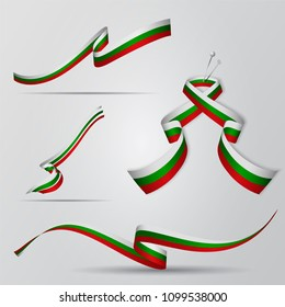 Flag of Bulgaria. Bulgarian ribbons set. Vector illustration.