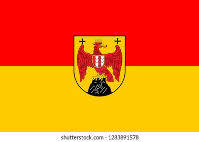 Flag of Burgenland is the easternmost and least populous state of Austria. Vector illustration