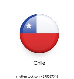 Flag button of Chile  over isolated white background