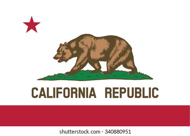 Flag of California state of the United States. Vector illustration.
