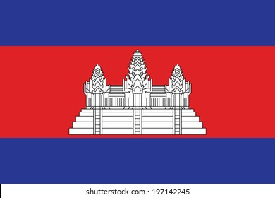 Flag of Cambodia. Vector. Accurate dimensions, element proportions and colors.