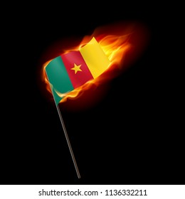Flag of Cameroon. Concept Illustration of Crisis or War Conflict with Cameroonian flag