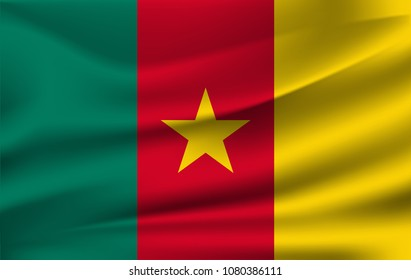 Flag of Cameroon. Realistic waving flag of Republic of Cameroon. Fabric textured flowing flag of Cameroon.