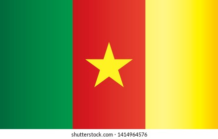 Flag of Cameroon, Republic of Cameroon. Bright, colorful vector illustration.