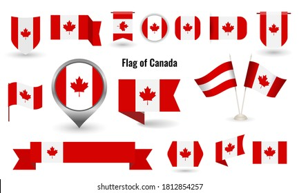 The Flag of Canada. Big set of icons and symbols. Circle and square and round Canada flag. Collection of different flags of horizontal and vertical. vector illustration.