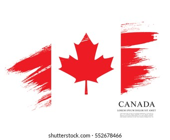 Flag of Canada, brush stroke background