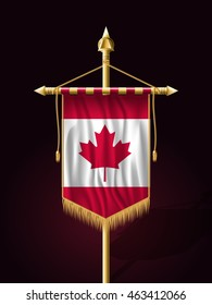 Flag of Canada. Festive Banner Vertical Flag with Flagpole. Wall Hangings with Gold Tassel Fringing