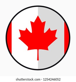 Flag Canada – flat style design button. Nation emblem illustration, isolated on a white background.