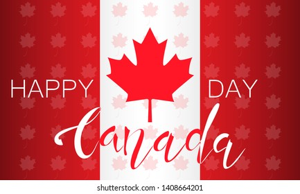 Flag of Canada and lettering on a background of maple leaves pattern. Decorative realistic design elements for Canadian national holidays. Symbol of Canada.  Vector illustration
