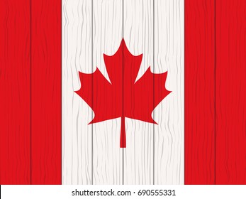 flag of Canada painted on a wooden wall