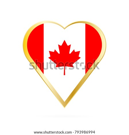 Flag Canada Shape Heart Symbol Love Stock Vector Royalty Free